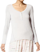 Hue® Solid Grey Henley Button Pajama Top