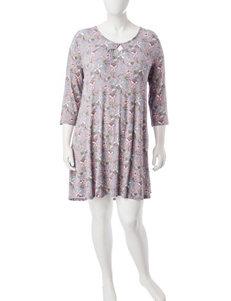 Ellen Tracy Plus-size Print Short Gown