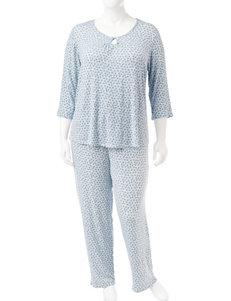 Ellen Tracy Blue Multi Pajama Sets
