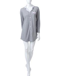 Laura Ashley White & Grey Dot Print Sleepshirt