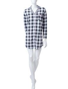 Laura Ashley Black & White Plaid Print Sleepshirt