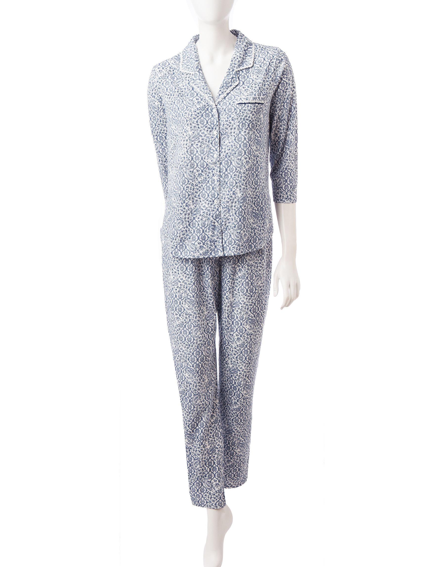 Aria White / Navy Pajama Sets