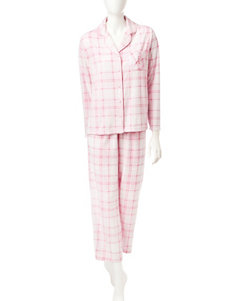 Jasmine Rose Plaid Print Top & Pants Pajamas