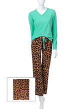 Wishful Park 3-pc. Leopard Print Pajama & Blanket Set