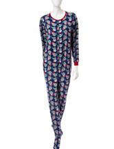 René Rofé Christmas Cat Print Onesie Pajamas