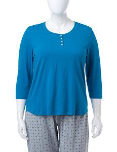 Rene Rofe Blue Pajama Tops