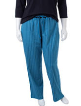 Rene Rofe Plus-size Striped Print Sleep Pants
