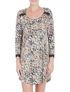 Linea Donatella Tan / Black Nightgowns & Sleep Shirts