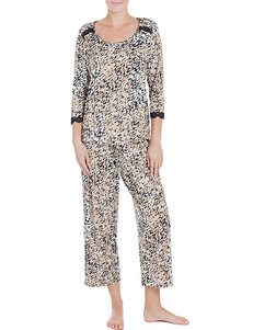 Linea Donatella 2-pc. Lace Trim Animal Print Pajamas