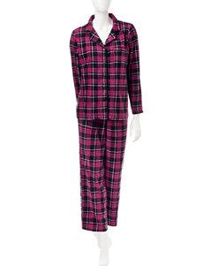 Pillow Talk 2-pc. Plaid Print Pom Pom Trim Pajamas