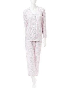 René Rofé 2-pc. Snowflake Print Pom Pom Trim Pajamas