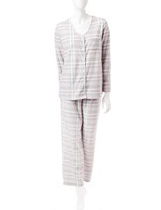 René Rofé 2-pc. Plaid Print Pom Pom Trim Pajamas