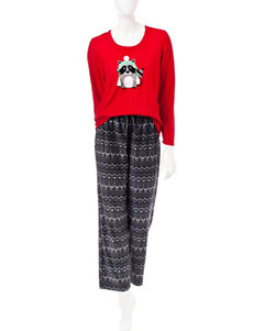 Pillow Talk 2-pc. Raccoon Fair Isle Print Pajamas