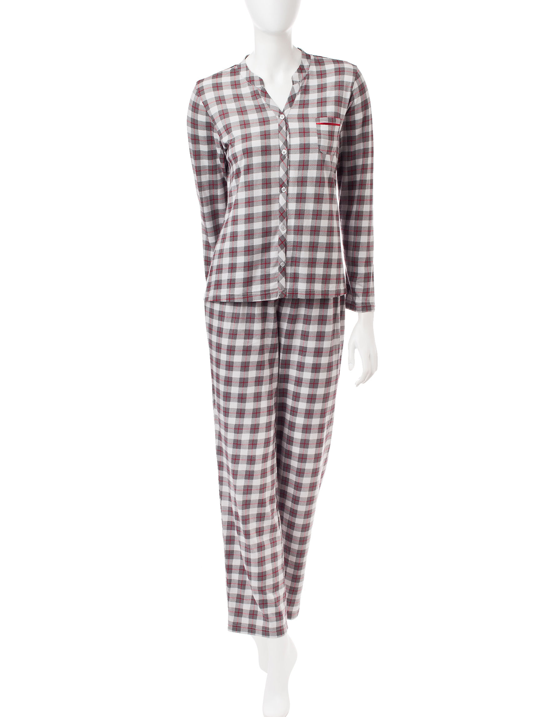 Hanes Grey Plaid Pajama Sets