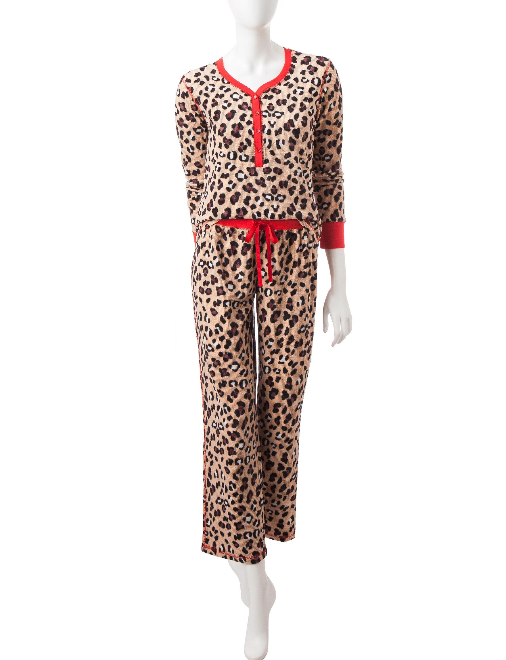 Pj Couture 2 Pc Animal Print Waffle Velour Pajamas