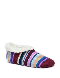 MUK LUKS Striped Knit Ballerina Slippers