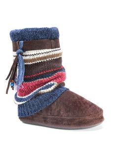 MUK LUKS Riley Marl & Stripe Boot Slippers