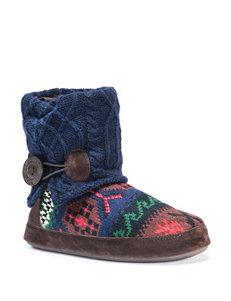 MUK LUKS Patti Fair Isle Knit Boot Slippers