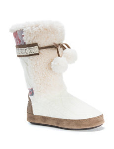 MUK LUKS Jewel Cable Knit & Rose Pattern Boot Slippers