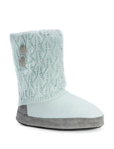 MUK LUKS Sofia Color Block Pointelle Leaf Knit Boot Slippers