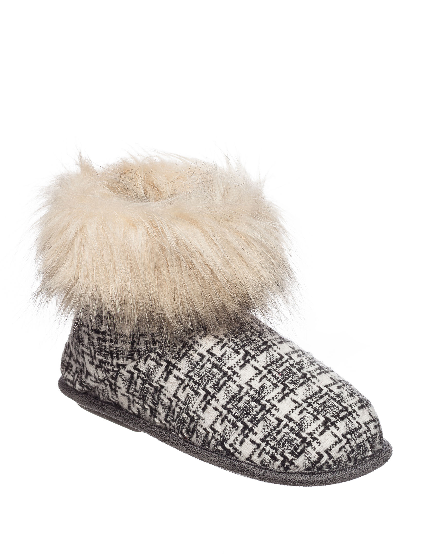 Cuddl Duds Plaid Faux Fur Cuff Boot Slippers | Stage Stores