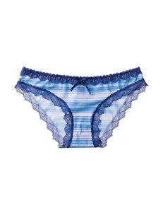 Rene Rofe Stripe Print Lace Trim Bikini Panties