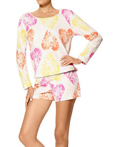 Hue Floral Heart Print Pajama Top