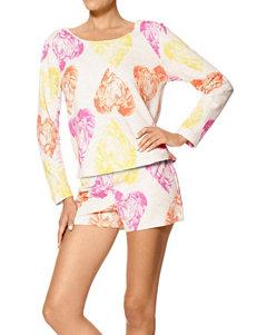 Hue Floral Heart Print Pajama Shorts