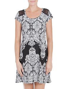 Linea Donatella Black / Ivory Nightgowns & Sleep Shirts