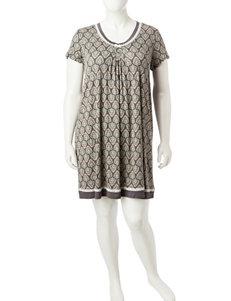 Ellen Tracy Grey Multi Nightgowns & Sleep Shirts