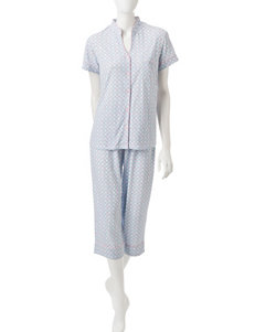 White Orchid Blue Pajama Sets