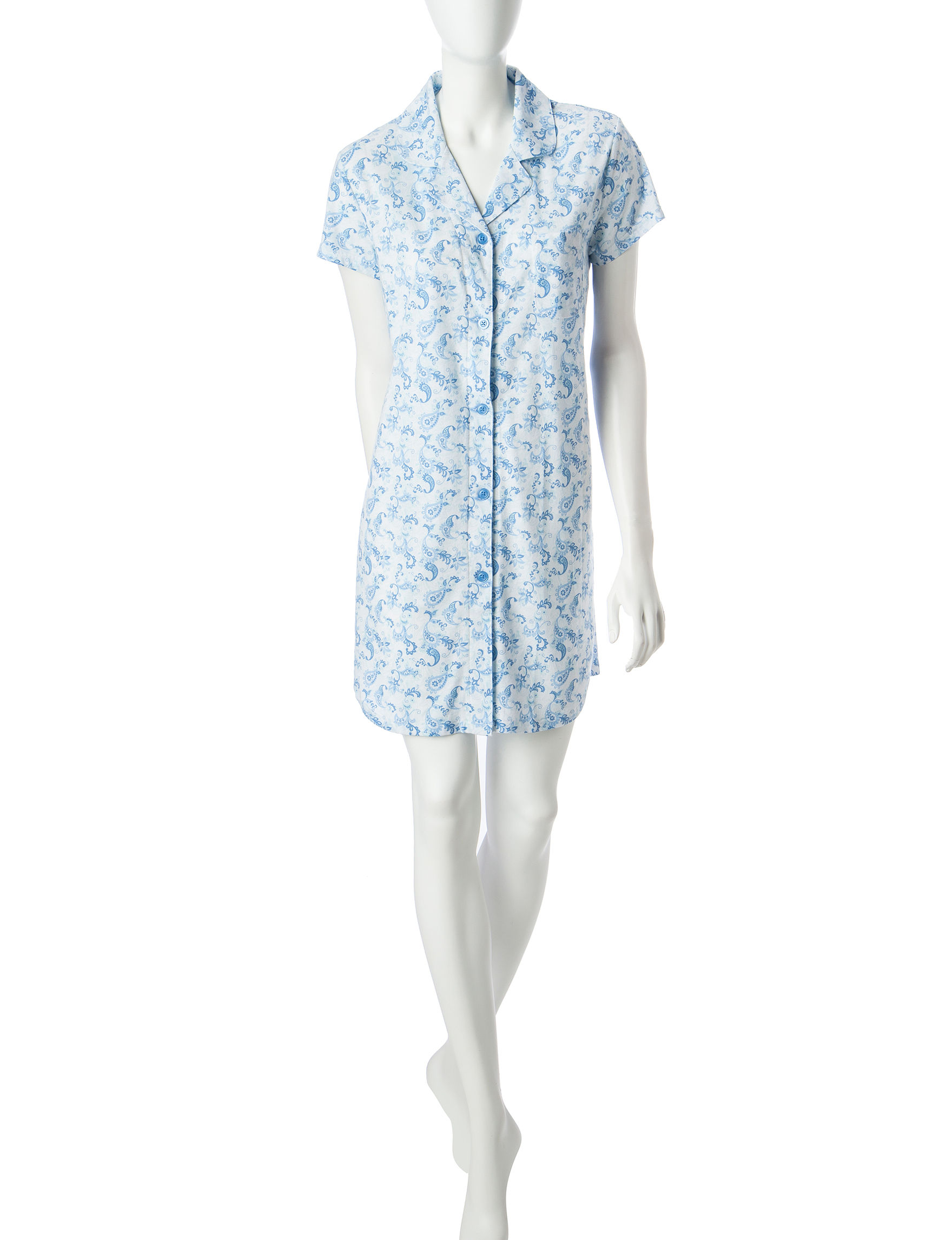 White Orchid Dark Blue Nightgowns & Sleep Shirts
