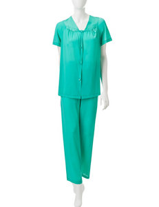 Vanity Fair Green Pajama Sets