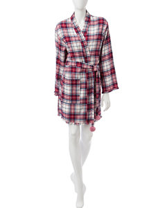 PJ Couture Plaid Knit Robe