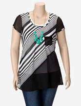 Liberty Love Candy Striped Top with Necklace – Juniors Plus