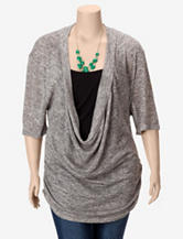 Liberty Love Draped Layered-Look Top with Necklace – Juniors Plus