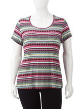 Wishful Park Scoop Neck Tribal Print Top – Juniors Plus