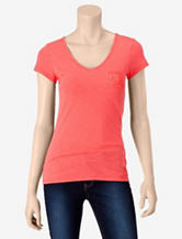 Wishful Park Solid Color Lace Pocket Top – Juniors