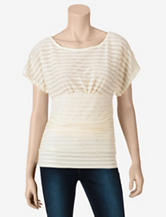 Heart Soul Cream Striped Burnout Top – Juniors