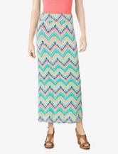 Hot Tempered Aztec Chevron Print Maxi Skirt – Juniors