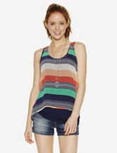 Wallflower Blue & Peach Multi-Striped Top – Juniors