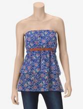 Almost Famous Blue Floral Tiered Tube Top – Juniors