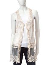 Pout Solid Color Crochet Mesh Vest
