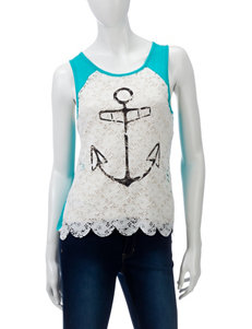Spoiled Teal & White Lace Accent Anchor Print Top – Juniors