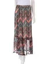 Self Esteem Chevron Tribal Print Maxi Skirt