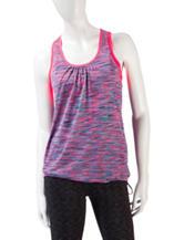 RBX Pink Striated Layered-Look Tank Top & Sports Bra