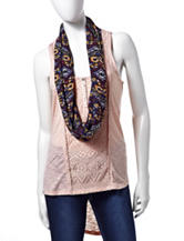 Self Esteem Solid Color Aztec Lace Tank Top & Scarf – Juniors