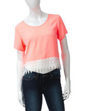 Wishful Park Solid Color Lace Hem Crop Top – Juniors