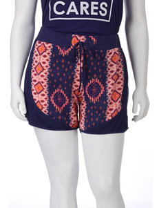 Self Esteem Navy Tribal Print Shorts – Juniors Plus
