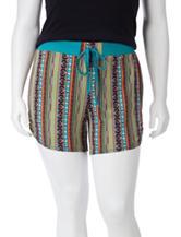 Self Esteem Vertical Striped Tribal Print Shorts – Juniors Plus